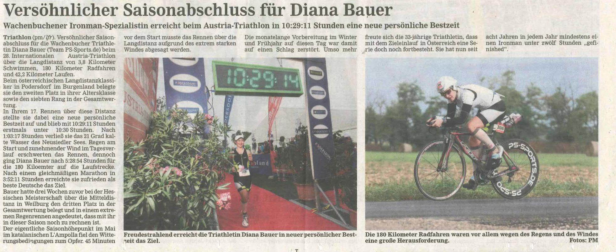 Austria Triathlon Podersdorf 2015: Diana mit neuer Bestzeit über Ironman-Distanz