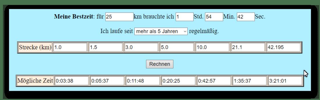 Vergleich verschiedener Laufleistungen Klaus